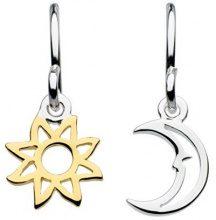 Dew - Orecchini pendenti in argento sterling e oro, motivo ciondolo: sole e luna
