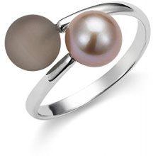 Adriana dreambase-anello 925 argento rodiato luenette marrone Gelato acqua dolce-acqua dolce taglia 52 (16,6) Regolabile - AGR8 - Gr, 52
