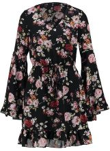 Missguided Tall FLORAL PRINT TIE WAIST TEA DRESS  Vestito estivo black