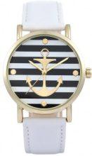 Orologio con cinturino in pelle e motivo marinaro