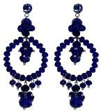 DHARMA BLUE - Orecchini made in Italy, cerchio con pendenti in cristallo Blu e Swarovski elements,lunghezza cm. 9