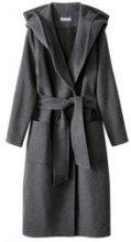 Cappotto con cappuccio con cintura in panno di lana