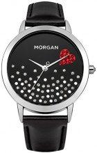 Morgan M1223B - Orologio da polso donna, pelle, colore: nero