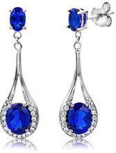 ByJoy Orecchini Donna  Pendente  con Zaffiro blu in Argento Sterling 925