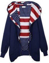 Felpa zip con cappuccio e interno a bandiera USA