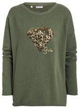 Timezone Diamond Sequin Jumper, Felpa Donna, Grün (Military Green Melange 4014), 42 (Taglia Produttore: Small)
