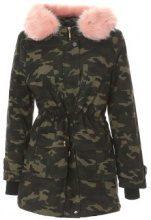 Parka camouflage con collo in pelliccia sintetica