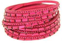 Kettenworld Catena mondiale donne-braccialetto acciaio Glass in pelle in acciaio rosa taglio brillante 38 cm - 370666