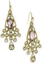 1928 Jewelry-Orecchini in oro rosa con cristallo e orecchini a goccia sfaccettati