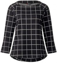 Street One Raglan Shirt with Check Dessin, T-Shirt Donna, Schwarz (Black 20001), 46