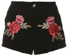 Pantaloncini con ricami a rose