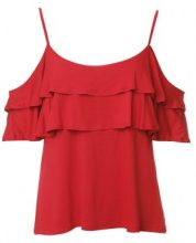 Blusa cold-shoulder con ruches