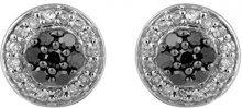Jewelili Donna  9 carati  oro bianco Rotonda   nero Diamante