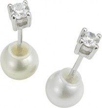 Adriana, orecchini da donna, double face 2015, argento 925, zirconia rodiati, perle di acqua dolce, bianco - ADO6