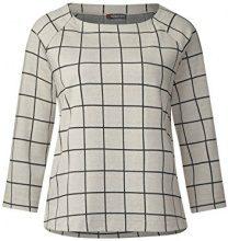 Street One Raglan Shirt with Check Dessin, T-Shirt Donna, Grau (Off White 20108), 40