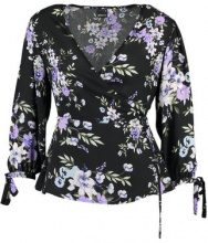 Gina Tricot WRAP BLOUSE Camicetta springflower aop