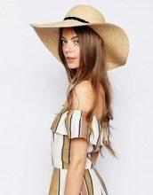 ASOS - Cappello floscio in paglia naturale con fascetta intrecciata