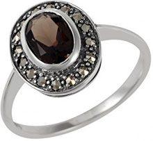 Esse Marcasite Anello solitario ovale, in argento Sterling, con quarzo sfumato, argento, 57 (18.1), colore: brown, cod. 214R0008-37/AMP