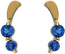 Ivy Gems Donna 9 carati oro giallo Rotonda blu Tanzanite FINEEARRING