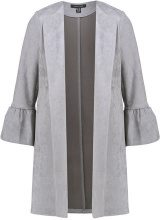 New Look FRILL SLEEVE SUEDETTE JACKET Cappotto corto grey