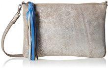 PIECES Pcsolange Leather Cross Body - Borse a spalla Donna, Silber (Silver Colour), 2x19x28 cm (L x H D)