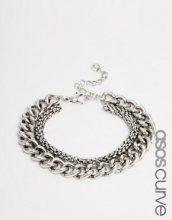ASOS Curve - Bracciale con catena assortita a maglia grossa