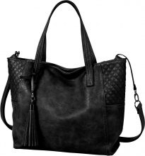 Borsa shopper con trapuntature e nappina (Nero) - bpc bonprix collection