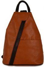 Zaini Dream Leather Bags Made In Italy  Zaino In Pelle Colore Cognac Nero - Pelletteria Toscana Made In