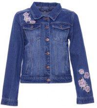 Giacca di jeans corta con ricamo a fiori