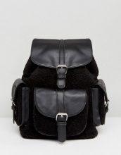 Glamorous - Zaino nero con tasca in shearling - Nero