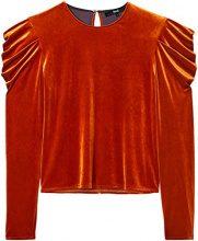 FIND Two Tone Velvet Pleat Sleeve, Maglia a Maniche Lunghe Donna, Arancione (Orange), 44/XL