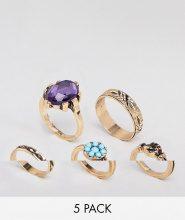 ASOS DESIGN - Confezione da 5 anelli con pietra e mano decorata stile vintage - Oro