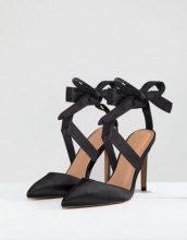 ASOS - PINOT - Scarpe con tacco in raso con allacciatura - Nero