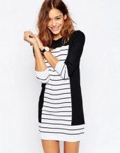 ASOS - Vestito in maglia a righe e blocchi di colore