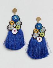 ASOS - Orecchini appariscenti con nappine blu di paillettes - Blu