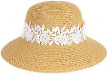 Cappello di paglia con fascia di pizzo floreale