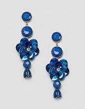 ASOS - Orecchini pendenti floreali con pietre e strass - Blu