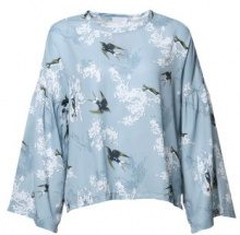 Blusa con stampa a uccelli