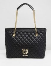 Love Moschino - Borsa shopper trapuntata con catena - Nero