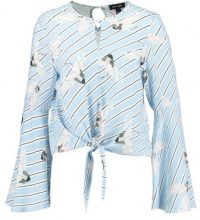 New Look HERON PRINT TIE FRONT  Camicetta blue