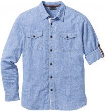 Camicia in misto lino regular fit (Blu) - bpc selection