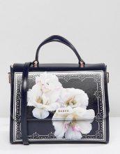 Maxi borsa squadrata in pelle con stampa di gardenie