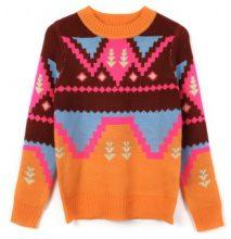 Pullover a maglia stile etnico