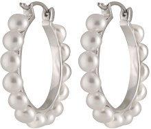 Bella Pearls - Orecchini a cerchio con perle d'acqua dolce, in argento Sterling
