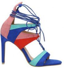 Sandali con tacco alto e lacci a blocchi di colore