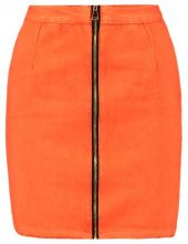 Missguided ZIP FRONT SKIRT  Gonna di jeans orange