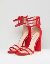 Public Desire - Mission - Sandali rossi con tacco largo e listino trasparente - Rosso