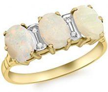 Carissima Gold Anello da Donna in Oro Giallo 9K con Diamante e Opale, Misura 14