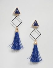 Ashiana - Vistosi orecchini pendenti con nappe - Blu
