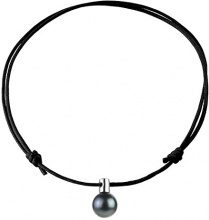 Pearls & Colors–Collana con ciondolo, in argento 925con perla coltivata di Tahiti, 42CM cmt18